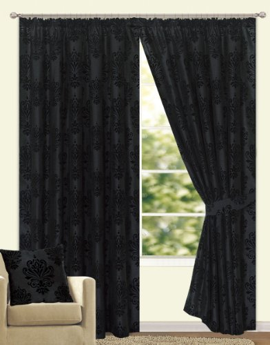 Fully-Lined-Leamington-Pencil-Pleat-Faux-Silk-Flock-Ready-Made-Pair-Of-Curtain-With-Tie-backs-Black-90-x-90-0