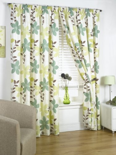 Impressions Izabelle Olive Fully Lined Readymade Curtain Pair