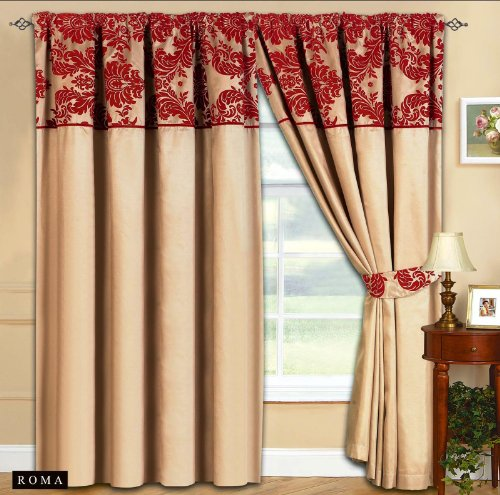 New-Elegance-Half-Flock-Ready-Made-Pencil-Pleat-Curtains-With-2-Tie-Backs-66x72-90x90-Beige-Red-90W-x-90L-230cm-x-230cm-0