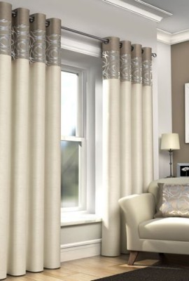 RING-TOP-FULLY-LINED-PAIR-EYELET-READY-MADE-CURTAINS-RED-BLACK-SILVER-CREAM-BLUE-Natural-and-Cream-46x-54-117-x-137cm-0