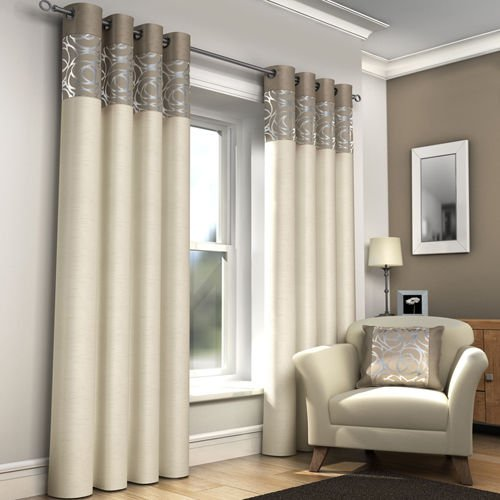 Ring Top Fully Lined Pair Eyelet Ready Made Curtains Red