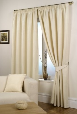 Waffle-Natural-Lined-Ready-Made-Curtain-Pair-90-x-90-Size-0
